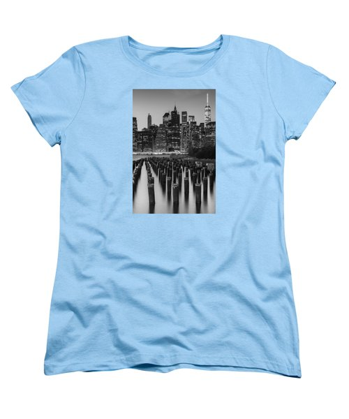 Women's T-Shirt (Standard Cut) featuring the photograph Nyc Skyline Bw by Laura Fasulo