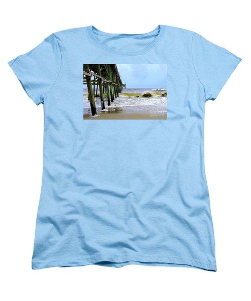 Women's T-Shirt (Standard Cut) featuring the photograph Oak Island Pier Before H.matthew by Shelia Kempf