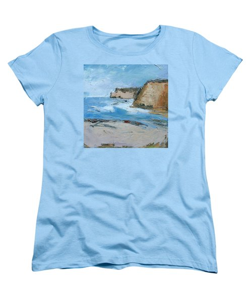Women's T-Shirt (Standard Cut) featuring the painting Ocean Cliffs by Gary Coleman