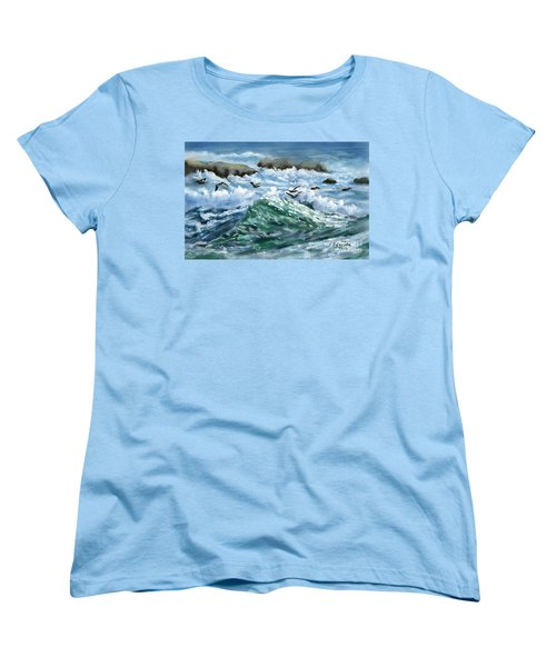 Women's T-Shirt (Standard Cut) featuring the painting Ocean Waves And Pelicans by Judy Filarecki
