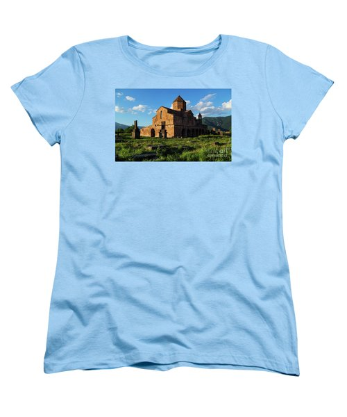 Odzun Church And Puffy Clouds At Evening, Armenia Women's T-Shirt (Standard Cut) by Gurgen Bakhshetsyan
