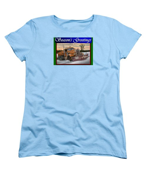 Ol' Pete Snowplow Christmas Card Women's T-Shirt (Standard Cut) by Stuart Swartz