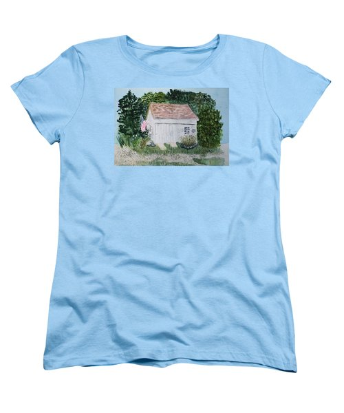 Women's T-Shirt (Standard Cut) featuring the painting Old Barn In Eastham Ma by Donna Walsh