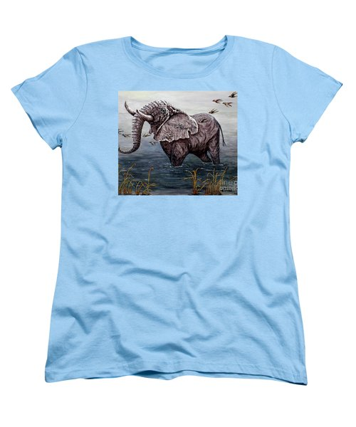 Women's T-Shirt (Standard Cut) featuring the painting Old Elephant by Judy Kirouac
