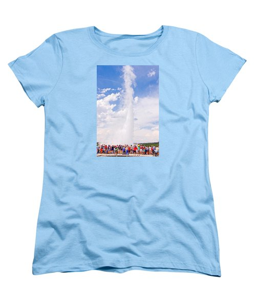 Old Faithful Surrounded Women's T-Shirt (Standard Cut) by Susan Crossman Buscho