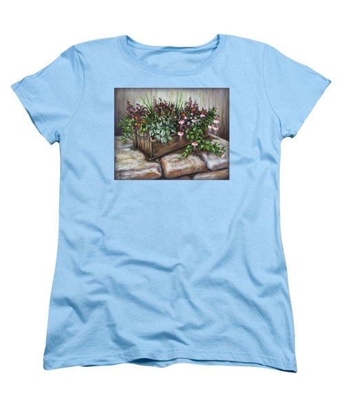 Women's T-Shirt (Standard Cut) featuring the painting Old Flower Box by Kim Lockman