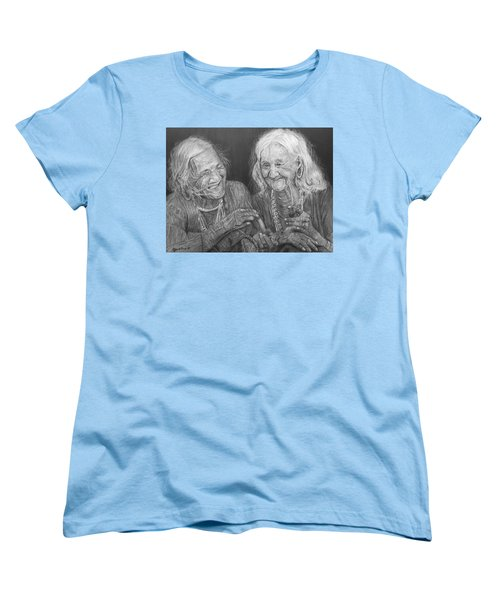 Women's T-Shirt (Standard Cut) featuring the drawing Old Friends, Smokin' And Jokin' by Quwatha Valentine