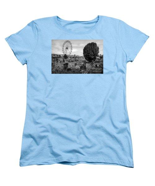 Old Glenarm Cemetery And Big Wheel Bw Women's T-Shirt (Standard Cut) by RicardMN Photography
