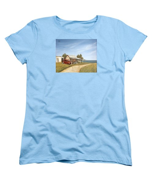 Women's T-Shirt (Standard Cut) featuring the painting Old House By The Sea by Natalia Tejera