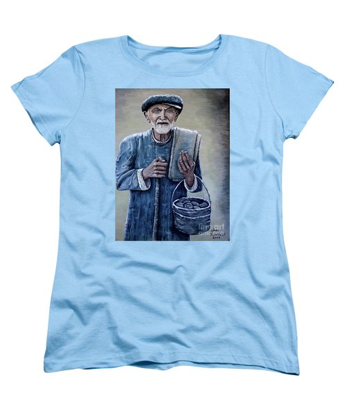 Women's T-Shirt (Standard Cut) featuring the painting Old Man With His Stones by Judy Kirouac