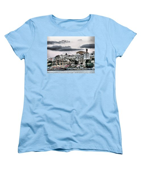 Old Port Mahon And Italian Sail Training Vessel Palinuro Hdr Women's T-Shirt (Standard Cut) by Pedro Cardona