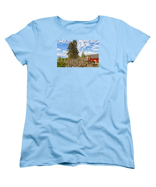 Old Rural Farm Set In A Beautiful Summer Nature Women's T-Shirt (Standard Cut) by Christian Lagereek