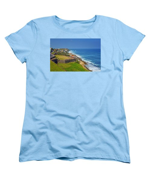 Old San Juan Coastline Women's T-Shirt (Standard Cut) by Stephen Anderson
