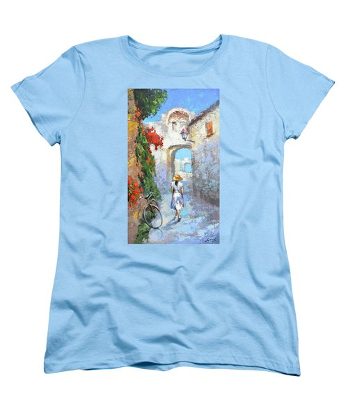 Women's T-Shirt (Standard Cut) featuring the painting Old Street  by Dmitry Spiros
