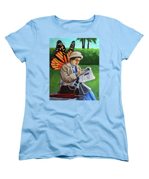 Women's T-Shirt (Standard Cut) featuring the painting On Vacation -butterfly Angel Painting by Linda Apple