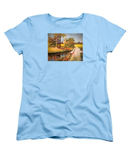 Women's T-Shirt (Standard Cut) featuring the painting One Lane Bridge by Jim Phillips