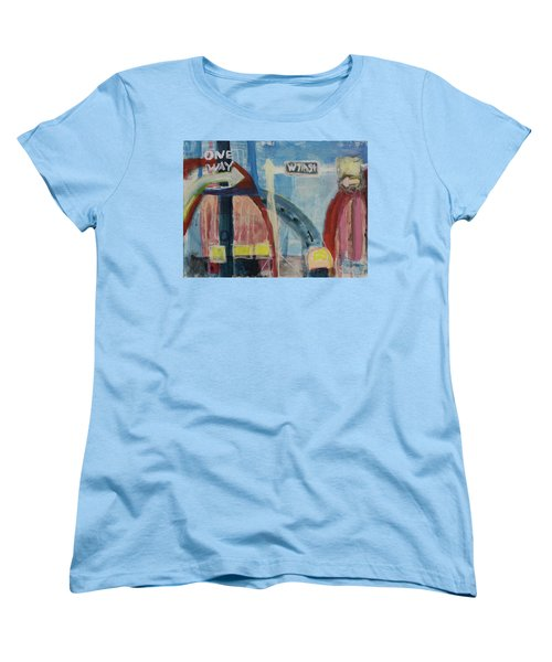 Women's T-Shirt (Standard Cut) featuring the painting One Way To 7th Street by Susan Stone