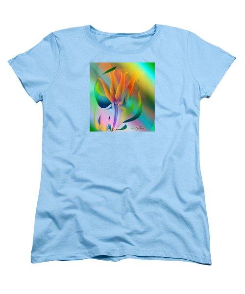 Orange Flower Women's T-Shirt (Standard Cut) by Iris Gelbart