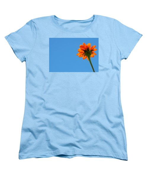 Orange Flower On Blue Sky Women's T-Shirt (Standard Cut) by Debbie Karnes