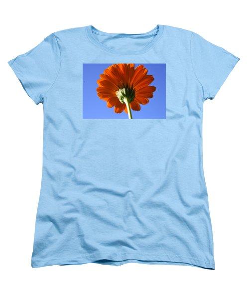 Orange Gerbera Flower Women's T-Shirt (Standard Cut) by Ralph A  Ledergerber-Photography