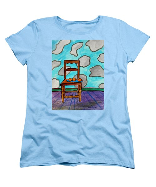 Women's T-Shirt (Standard Cut) featuring the painting Oranges On A Blue Plate by John Williams