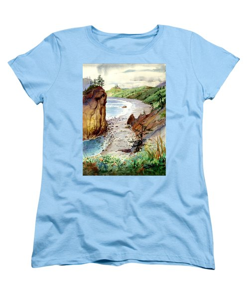 Women's T-Shirt (Standard Cut) featuring the painting Oregon Coast #3 by John Norman Stewart