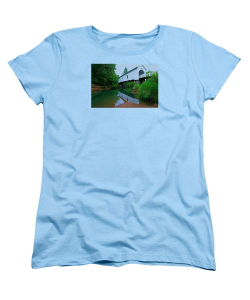 Oregon Covered Bridge Women's T-Shirt (Standard Cut) by Sean Sarsfield