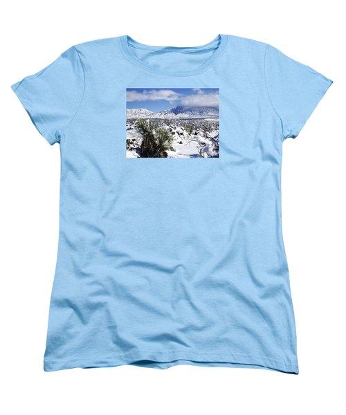 Women's T-Shirt (Standard Cut) featuring the photograph Winter's Blanket Organ Mountains by Kurt Van Wagner