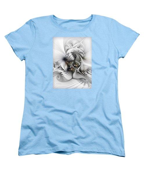 Women's T-Shirt (Standard Cut) featuring the digital art Organic Spiral Tower Construction by Karin Kuhlmann