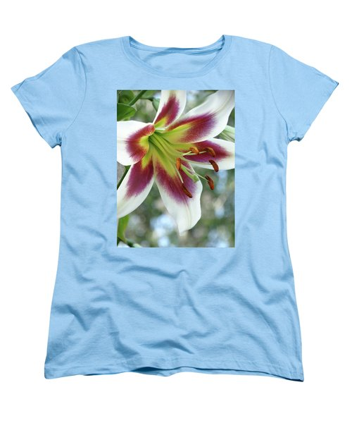 Oriental Lily In Summer Sunset Women's T-Shirt (Standard Cut) by Rebecca Overton