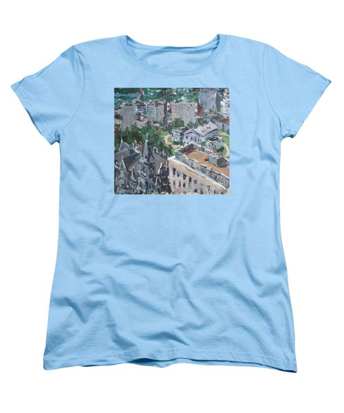 Women's T-Shirt (Standard Cut) featuring the painting Original Contemporary Cityscape Painting Featuring Virginia State Capitol Building by Robert Joyner