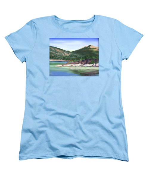 Women's T-Shirt (Standard Cut) featuring the painting Osprey Island Flaming Gorge by Jane Autry