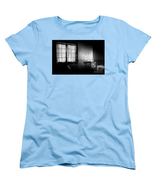 Women's T-Shirt (Standard Cut) featuring the photograph Our Lady Chapel Detail In  The Ons' Lieve Heer Op Solder Amsterdan Bw by RicardMN Photography