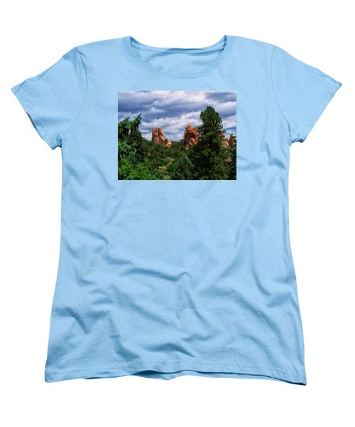 Women's T-Shirt (Standard Cut) featuring the digital art outcroppings in Colorado Springs by Chris Flees