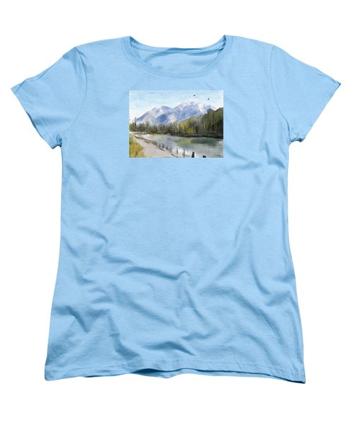 Women's T-Shirt (Standard Cut) featuring the painting Over The Mountains by Wayne Pascall