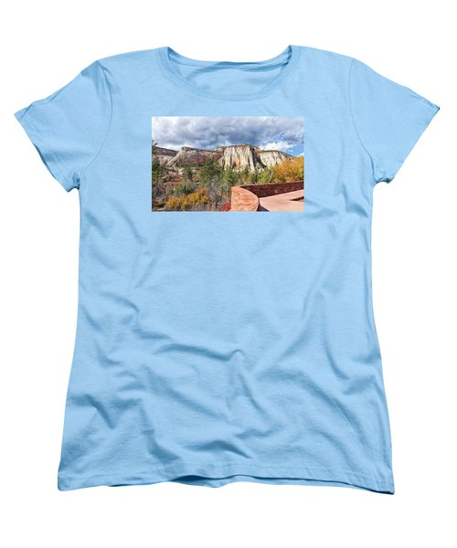 Women's T-Shirt (Standard Cut) featuring the photograph Overlook In Zion National Park Upper Plateau by John M Bailey