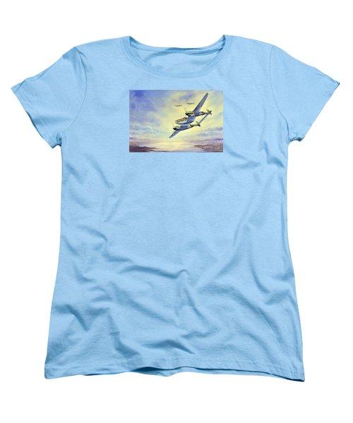 Women's T-Shirt (Standard Cut) featuring the painting P-38 Lightning Aircraft by Bill Holkham