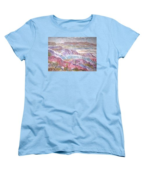Women's T-Shirt (Standard Cut) featuring the painting Painted Desert by Ellen Levinson