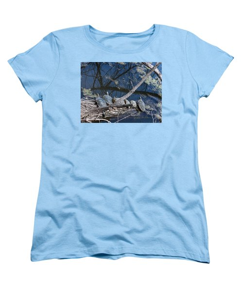 Women's T-Shirt (Standard Cut) featuring the photograph Painted Turtle Dance Line by Edward Peterson
