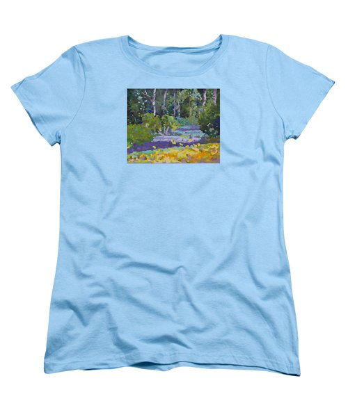 Women's T-Shirt (Standard Cut) featuring the painting Painting Pixie Forest by Chris Hobel