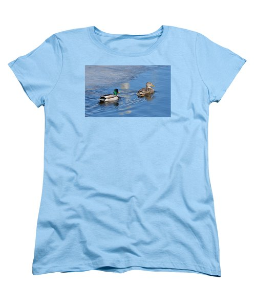 Women's T-Shirt (Standard Cut) featuring the photograph Pair Of Mallard Ducks Inthunder Bay by Michael Peychich