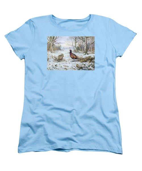 Pair Of Pheasants With A Wren Women's T-Shirt (Standard Cut) by Carl Donner