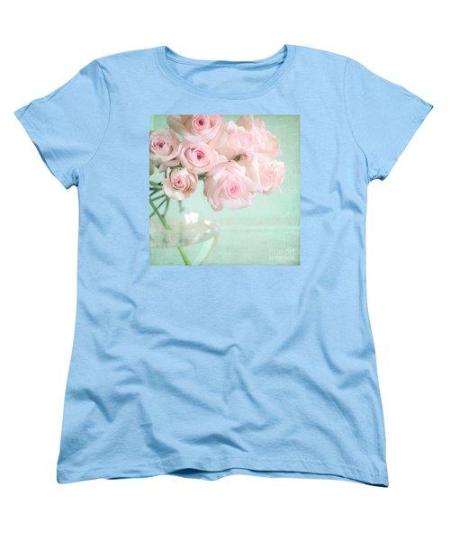 Pale Pink Roses Women's T-Shirt (Standard Cut) by Lyn Randle