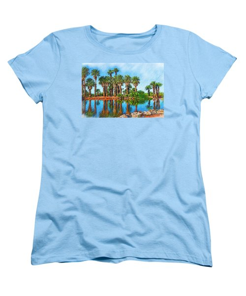 Palm Reflections Sketched Women's T-Shirt (Standard Cut) by Kirt Tisdale