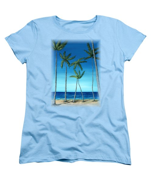 Women's T-Shirt (Standard Cut) featuring the painting Palm Trees On Blue by Anastasiya Malakhova