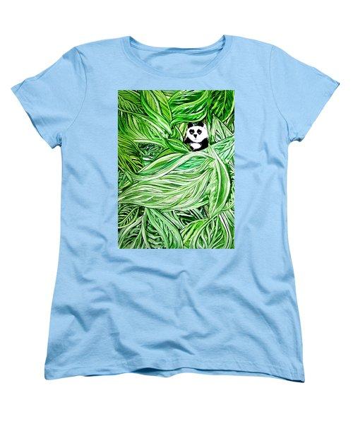 Panda Bear Sitting In Leaves Alcohol Inks Women's T-Shirt (Standard Cut) by Danielle  Parent