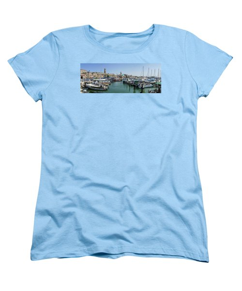 Women's T-Shirt (Standard Cut) featuring the photograph Panorama In Acre Harbor by Arik Baltinester