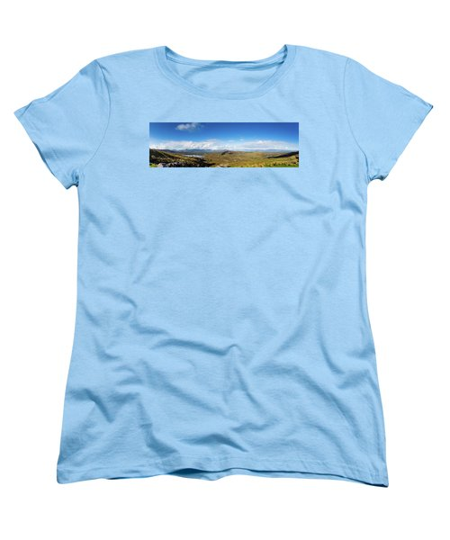 Women's T-Shirt (Standard Cut) featuring the photograph Panorama Of Ballycullane And Lough Acoose In Ireland by Semmick Photo