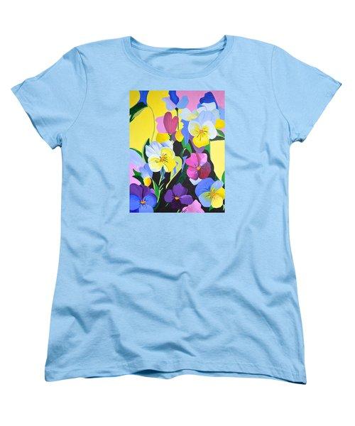 Pansies Women's T-Shirt (Standard Cut) by Donna Blossom