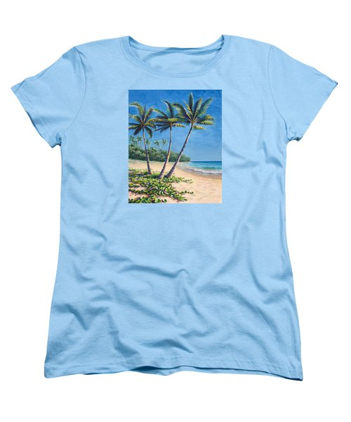 Women's T-Shirt (Standard Cut) featuring the painting Tropical Paradise Landscape - Hawaii Beach And Palms Painting by Karen Whitworth